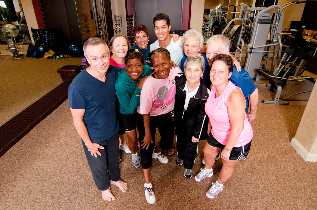 Lafayette healthcare photography of cancer survivors in a fitness center.