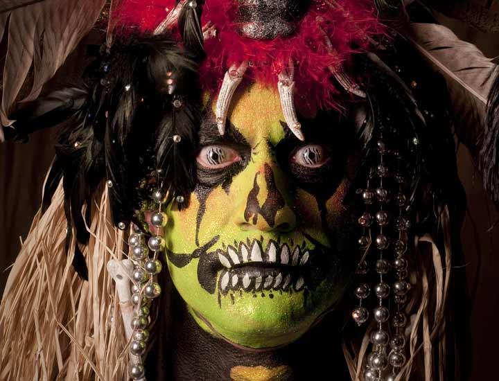 Fashion photograph of special effects make up for a theatrical character.